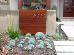 Debora Carl Landscape Design - modern house numbers on horizontal slats - contemporary landscape Modern Landscape Design, Modern Landscaping, Contemporary Landscape, Contemporary Decor, Backyard Landscaping, Landscaping Ideas, Modern Design, Landscape Elements, Home Design