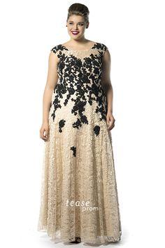 Lace Plus Size Prom Dress on model Erica Jean