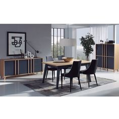 Salle à manger complète scandinave gris et couleur bois RUBEN