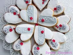 Sophisticated White & Gray Heart Cookies with Petite Red Rose
