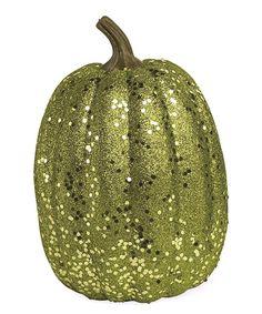 Look at this #zulilyfind! Tall Green Glitter Pumpkin by K&K Interiors #zulilyfinds