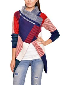 Take a look at this Blue & Red Plaid Button-Collar Cardigan on zulily today!