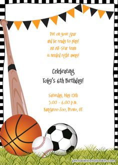 All star invitation sports theme boys or girls sports birthday party invitations invitaciones de fiesta partyinvitations stopboris Images