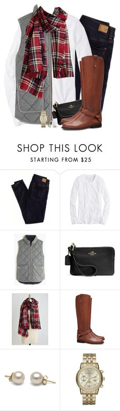 """""""Gray J.crew vest & red plaid scarf"""" by steffiestaffie ❤ liked on Polyvore featuring American Eagle Outfitters, J.Crew, Coach, Tory Burch, Michael Kors, women's clothing, women, female, woman and misses"""
