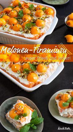 Super lecker! Sommerliches Melonen-Tiramisu mit einfachem Rezept, auch glutenfrei, laktosefrei oder vegan.  #tiramisu #melone #rezept #dessert #sommer #glutenfrei #laktosefrei #vegan