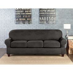 Sure Fit® Vintage Faux Leather Individual Cushion 3-Seat Sofa Slipcover