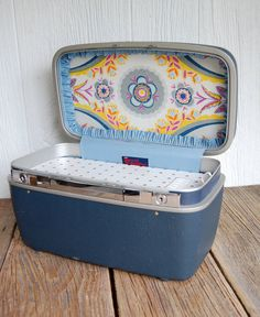 vintage train cases as charging stations