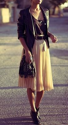 Refined Style - feminine pleats in a soft color mixed with a basic tee and edgy leather jacket! Love the shoes too!