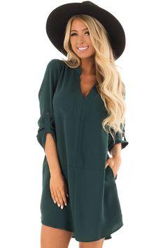 Hunter Green Loose V Neck Dress with Chest Pocket front closeup Cute Boutiques, Short Article, Shoulder Workout, Fabulous Dresses, Hunter Green, V Neck Dress, Boutique Dresses, Cold Shoulder Dress, Pocket