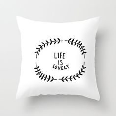 Black and White Home Decor Throw Pillow Cover by bellesandghosts