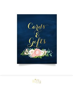 $10 on ETSY | The JENNY . Cards & Gifts Sign Gift Table . Gold Calligraphy Navy Chalkboard . White Roses Pink Blush Peonies Dusty Miller . Custom PDF by BuffyWeddings on Etsy