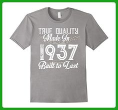 Mens Made In 1937 Best Cool 80 Years Old 80th Birthday Gift Shirt Large Slate - Birthday shirts (*Amazon Partner-Link)