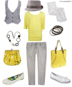 like the yellow/grey, shirt/vest, and purse on left side...the hat? not sure I could pull that one off.