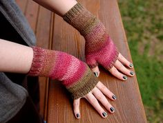 These easy to knit wristwarmers would look great in our color changing Amazing yarn. Check out the pattern on Ravelry.