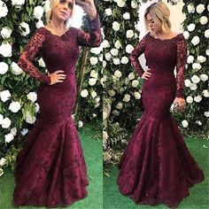 JaneVini Elegant Burgundy Bridesmaid Dress Mermaid Long Sleeve Pearls Lace Women Wedding Guest Dress sukienki damskie na wesele Evening Dresses Online, Cheap Evening Dresses, Mermaid Evening Dresses, Gowns Online, Evening Gowns, Mother Of The Bride Dresses Long, Prom Dresses Long With Sleeves, Mothers Dresses, Dress Long
