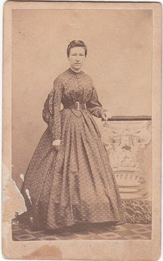 Civil War CDV Lady Day Dress ID Isa Vanfossen of Wellsville OH