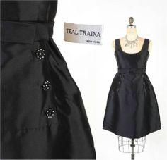 Vintage 60's Designer Dress // TEAL TRAINA Black by SwellFarewell, $245.00