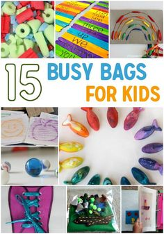 These busy bags are a great way to keep your busy with fun simple activities! Make these ahead of time and pull them out on a rainy day.