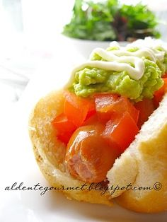 Completo Chileno - Chilean Hot dog composed of diced tomatoes, avocado and real mayo. Must make very soon!
