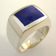 Mens Custom, Unique, Square Lapis Lazuli Ring in Heavy Sterling Silver   DougPetersonJewelers - Jewelry on ArtFire