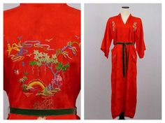 Red Embroidered Kimono Robe  Vintage 1980s by TheBirdcageVintage, $79.99
