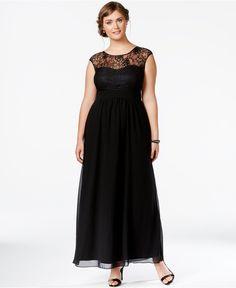 City Chic Plus Size Lace Illusion Gown - Dresses - Plus Sizes - Macy's