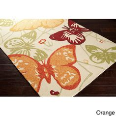 Hand-Hooked Melody Transitional Butterfly Indoor/Outdoor Area Rug (5' x 7'6)   Overstock.com Shopping - Great Deals on 5x8 - 6x9 Rugs