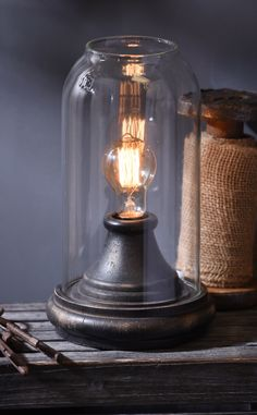 Add a new vintage glow to your home with this Distressed Black Cloche Edison Lamp. Its glass cloche design gives it retro appeal with a modern touch. Edison Lighting, Lighting Sale, Trendy Home Decor, Home Decor Styles, Edison Lampe, Chandelier Lamp, Chandeliers, Vintage Lamps, Vintage Industrial