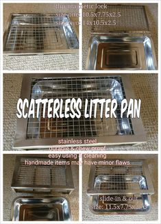 Stainless Steel Scatterless Slide-in&out Litter Pan 11.5x7.75x2.75 Stainless Steel Scatterless Flip Magnetic Lock Litter Pan Large 14x10.5x2.5 Small 10.5x7.75x2.5