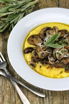 The Stay At Home Chef: Sage Mushrooms over Parmesan Polenta