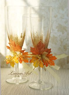 Fall Wedding Champagne Flutes Fall Wedding Toasting Flutes Fall Wedding Glasses Thanksgiving wedding - pinned by pin4etsy.com