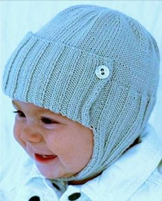 Free Knitting Pattern for Aviator Style Baby Hat - The James or Jane Baby Hat includes sizes for 3-6 months, 6-12 months, 12 months – 3 years. Designed by Vera Sanon. Available in English and German
