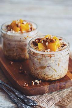 maple peach pecan overnight oats #vegan | RECIPE on hotforfoodblog.com
