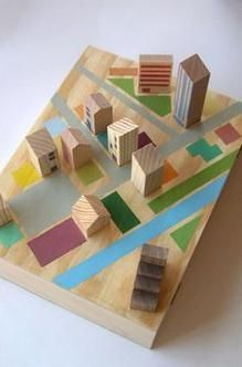 Wooden play town. Easy DIY toy to make for kids. (board, washi tape, small blocks)