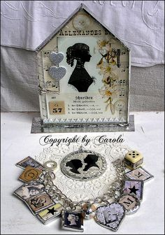 Soldered house, silhouette pendant and charm bracelet