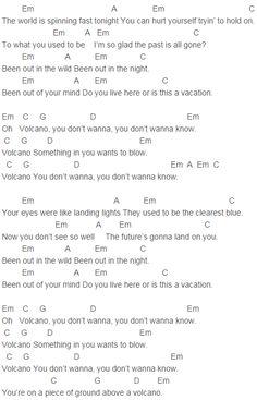 U2 - Volcano Chords