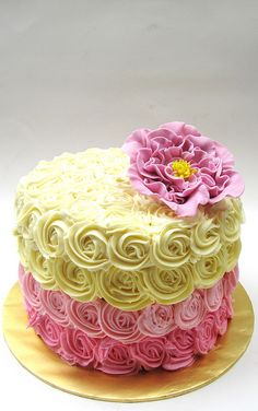 Cute pink & yellow ombre cake