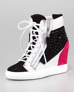 Crystal Colorblock Wedge Sneaker, Black/Pink/White by Giuseppe Zanotti at Neiman Marcus.