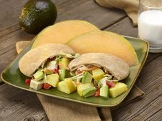 Pineapple Avocado Chicken Salad - Delicious sandwich, wrap or pita filling featuring chunks of avocado, pineapple and chicken. Avocado helps make a creamy, luscious dressing.