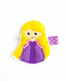 Rapunzel Princess Set Felt embroidery hair clip / baby by soCuties, $4.00