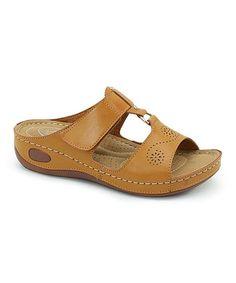 Camel Pointelle Wedge Sandal