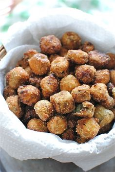 Fried Okra - okra - flour - cornmeal - cayenne - buttermilk - canola oil to fry with
