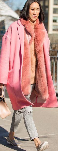 NYFW Street style: Eva Chen in a pink coat