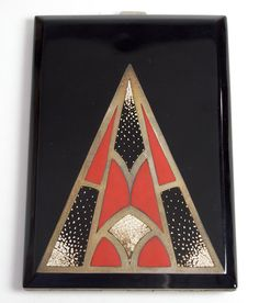 French Art Deco lacquer cigarette case, 1920's....