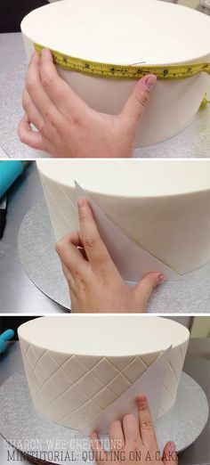 Quilting on a cake minitutorial - by Sharon Wee Creations fondant quilting Cake Decorating Techniques, Cake Decorating Tutorials, Cookie Decorating, Decorating Cakes, Fondant Tips, Fondant Tutorial, Quilted Cake Tutorial, Fondant Recipes, Fondant Rose