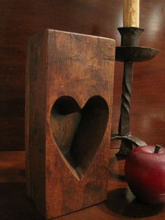 """Antique 1800s Early New England Wooden Maple Sugar """"Heart"""" Mold  SOLD from North Bayshore Antiques"""