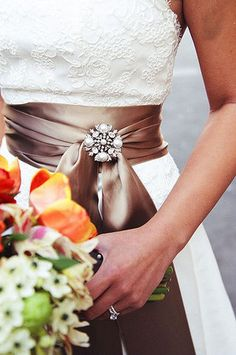 I love the sash with added bling!  These colors are gorgeous for the fall.