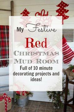 My Festive Red Christmas Mud Room