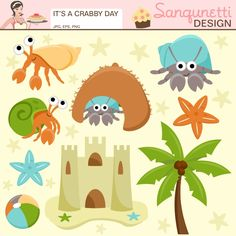 Are you having a crabby day? Well cheer up, these little hermit crabs and accents will brighten your day.  This set was inspired by my newest pets I got for my boys.  This would be great for any beach themed party, embroidered beach towels or more craft projects.