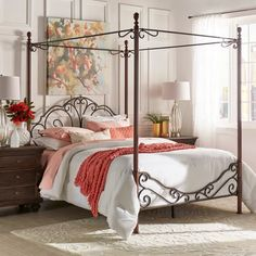 Our Toulouse Collection was inspired by the classic style of vintage furniture from a Paris apartment, with molded trim along the rails and frame and a chic washed finish. Nailheads detail the upholstered panels of the canopy bed. Farmhouse Canopy Beds, Bedroom Furniture, Bedroom Decor, Bedroom Ideas, Bed Ideas, Furniture Deals, Quality Furniture, Bedroom Wall, Bed Room